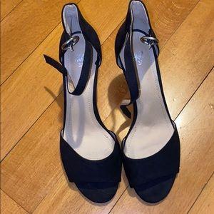 Black strappy kitten heels